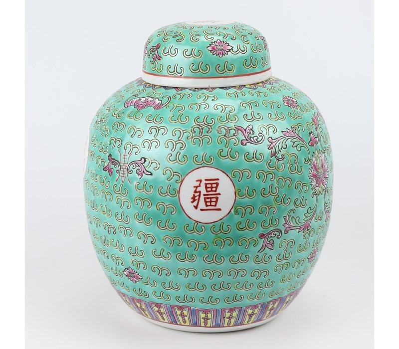 Chinese Gemberpot Groen Handgeschilderd Levensduur D21xH25cm