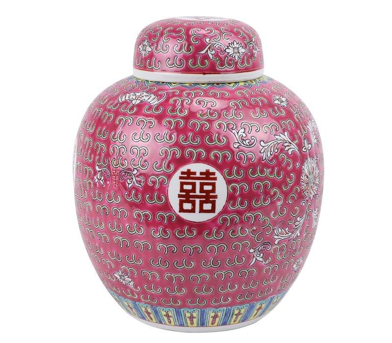 Chinese Gemberpot Rood Handgeschilderd Double Happiness D21xH25cm