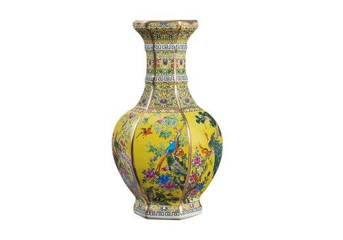 Fine Asianliving Chinese Vaas Porselein Bloemen Vogels Geel D19xH32cm