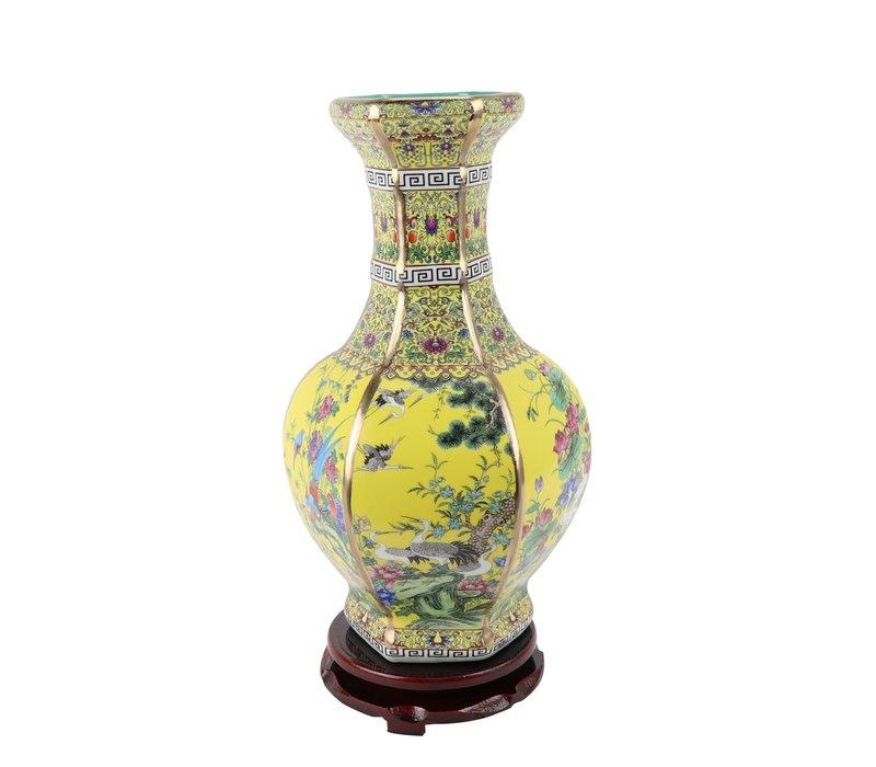 Chinese Vaas Porselein Bloemen Vogels Geel D19xH32cm