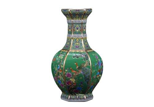 Fine Asianliving Chinese Vaas Porselein Bloemen Vogels Groen D19xH32cm