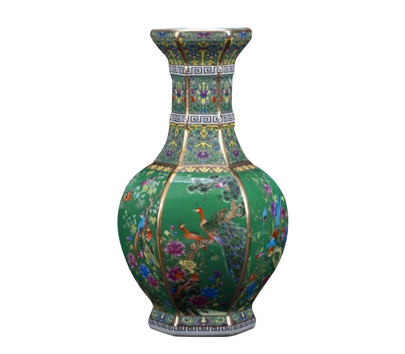 Chinese Vaas Porselein Bloemen Vogels Groen D19xH32cm