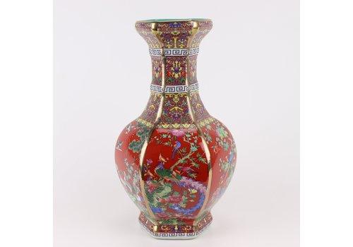 Fine Asianliving Chinese Vaas Porselein Bloemen Vogels Rood D19xH32cm
