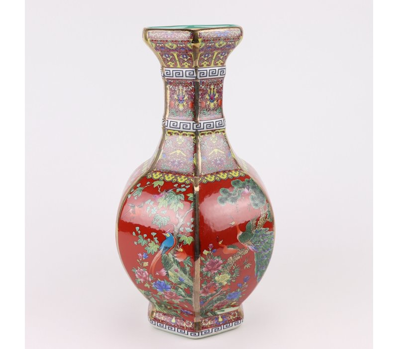 Chinesische Vase Porzellan Blumen Vögel Rot D19xH32cm