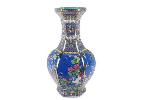 Fine Asianliving Chinese Vaas Bloemen Vogels Blauw D19xH32cm