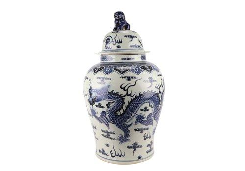 Fine Asianliving Chinese Gemberpot Blauw Draak Handgeschilderd D34xH65cm