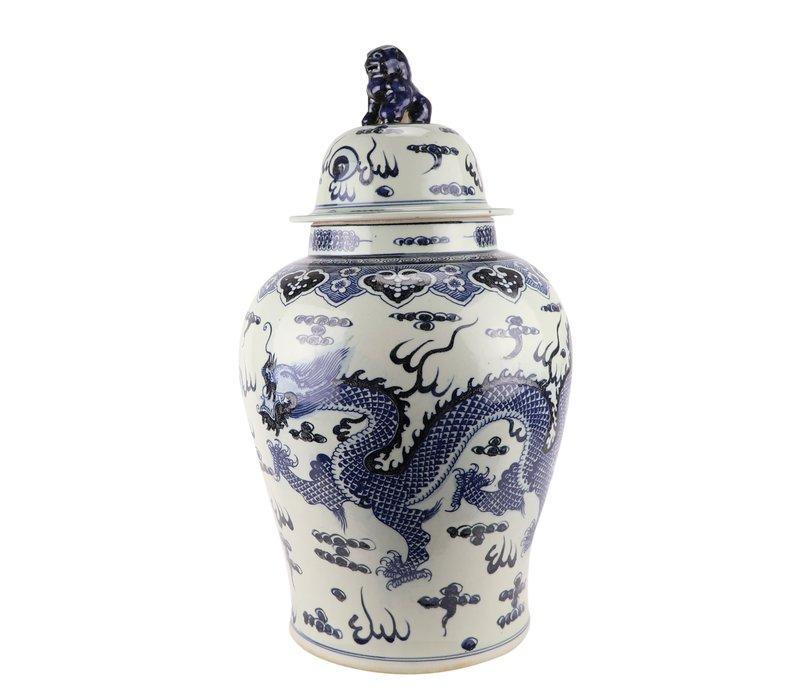 Chinese Gemberpot Blauw Draak Handgeschilderd D34xH65cm