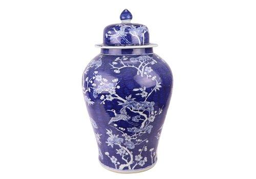 Fine Asianliving Chinese Gemberpot Blauw Bloesems Handgeschilderd D34xH60cm