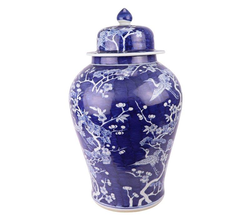 Chinese Gemberpot Blauw Bloesems Handgeschilderd D34xH60cm