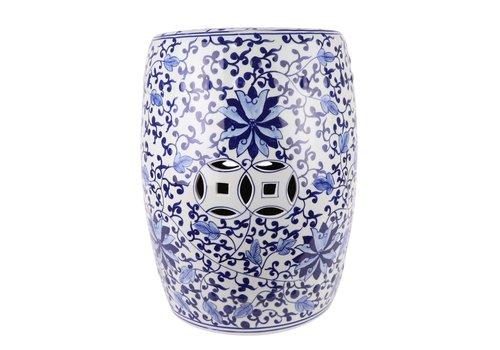 Fine Asianliving Ceramic Garden Stool Handpainted Blue White D33xH44cm