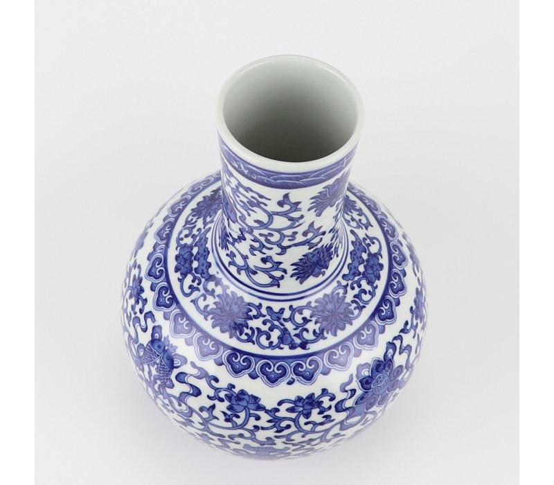 Chinese Vaas Porselein  Blauw Wit Lotus D22xH34cm