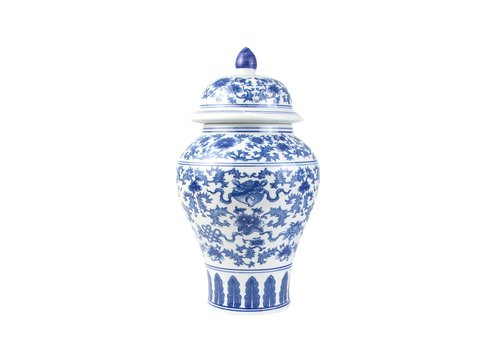 Fine Asianliving Chinese Gemberpot Porselein Blauw Wit Lotus D22xH37cm