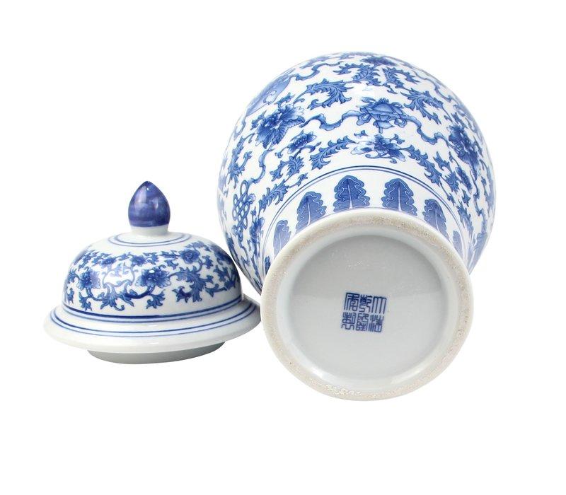 Chinese Gemberpot Porselein Blauw Wit Lotus D22xH37cm