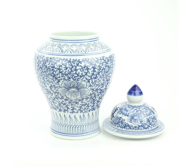 Chinese Gemberpot Porselein Blauw Wit Dubbele Blijdschap D22xH40cm