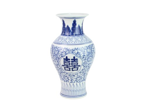 Fine Asianliving Chinese Vaas Porselein Blauw Wit Double Happiness D20xH32cm