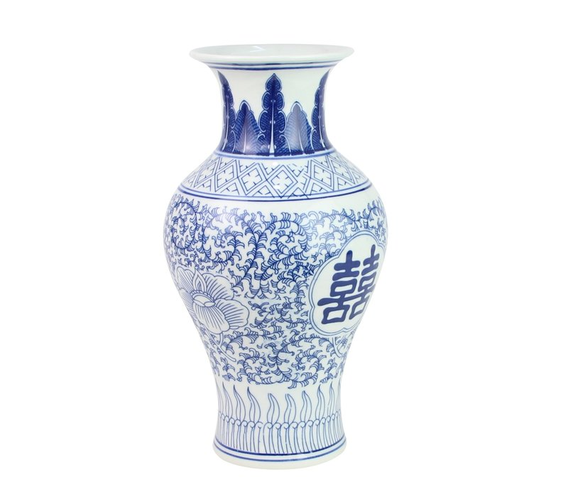 Chinese Vaas Porselein Blauw Wit Double Happiness D20xH32cm