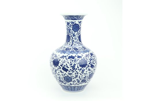 Fine Asianliving Chinese Vaas Porselein Lotus Blauw Wit D21xH33cm