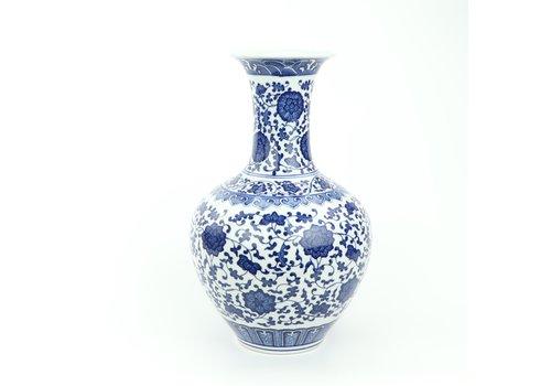 Fine Asianliving Chinese Vase Porcelain Lotus Blue White D21xH33cm