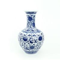Chinese Vaas Porselein Lotus Blauw Wit D21xH33cm