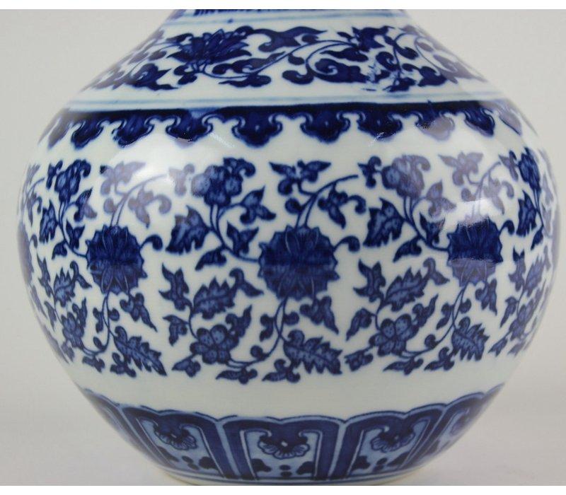 Chinese Vaas Porselein Lotus Blauw Wit D20xH30cm