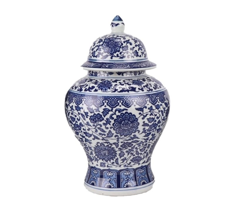 Chinese Gemberpot Porselein Lotus Blauw Wit D22xH37cm