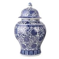 Chinese Gemberpot Porselein Lotus Blauw Wit D27xH42cm