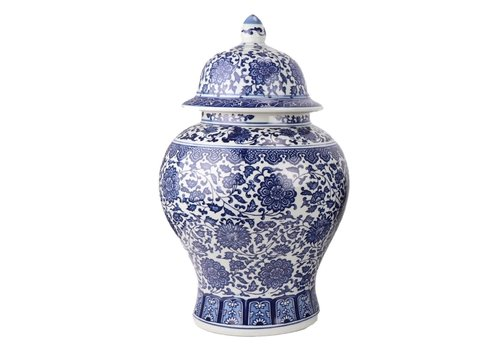 Fine Asianliving Chinese Gemberpot Porselein Lotus Blauw Wit D27xH42cm