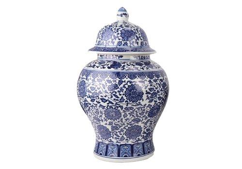 Fine Asianliving Chinese Ginger Jar Porcelain Lotus Blue White D27xH42cm