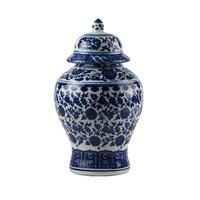 Chinese Gemberpot Porselein Lotus Blauw Wit D15xH20cm