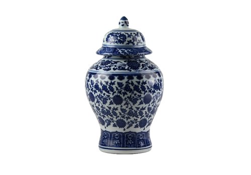 Fine Asianliving Chinese Gemberpot Porselein Lotus Blauw Wit D15xH20cm