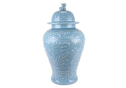 Fine Asianliving Chinese Ginger Jar Blue Koi Fishes Handmade D28xH56cm
