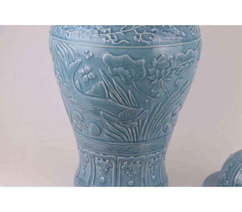 Chinese Gemberpot Blauw Koi vissen Handgemaakt D28xH56cm
