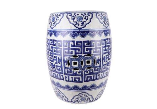 Fine Asianliving Ceramic Garden Stool Handpainted Blue White D35xH47cm