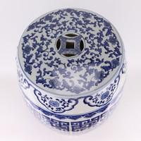 Keramiek Tuinkruk Handgeschilderd Blauw Wit D35xH47cm