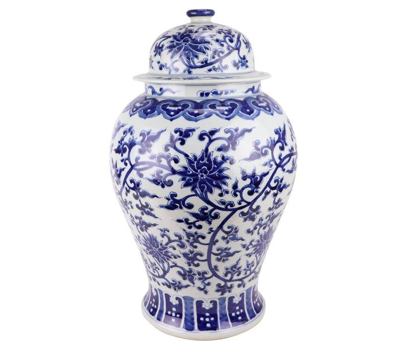 Chinesisches Deckelvase Porzellan handbemalt Lotus Blau Weiß D32xH53cm