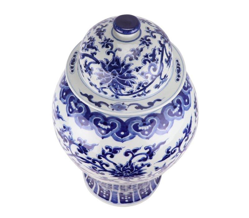 Chinese Ginger Jar Porcelain Handpainted Lotus Blue White D32xH53cm