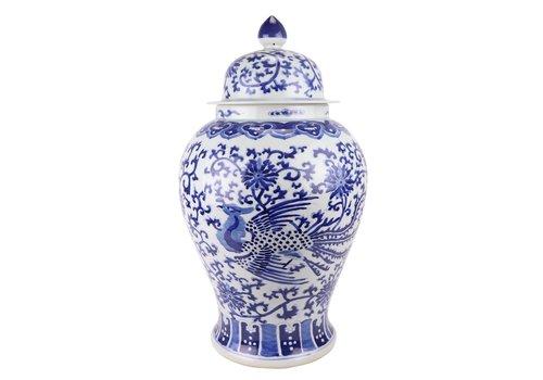 Fine Asianliving Chinese Gemberpot Porselein Handgeschilderd Phoenix Blauw Wit D32xH60cm