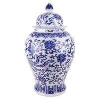 Chinese Ginger Jar Porcelain Handpainted Phoenix Blue White D32xH60cm