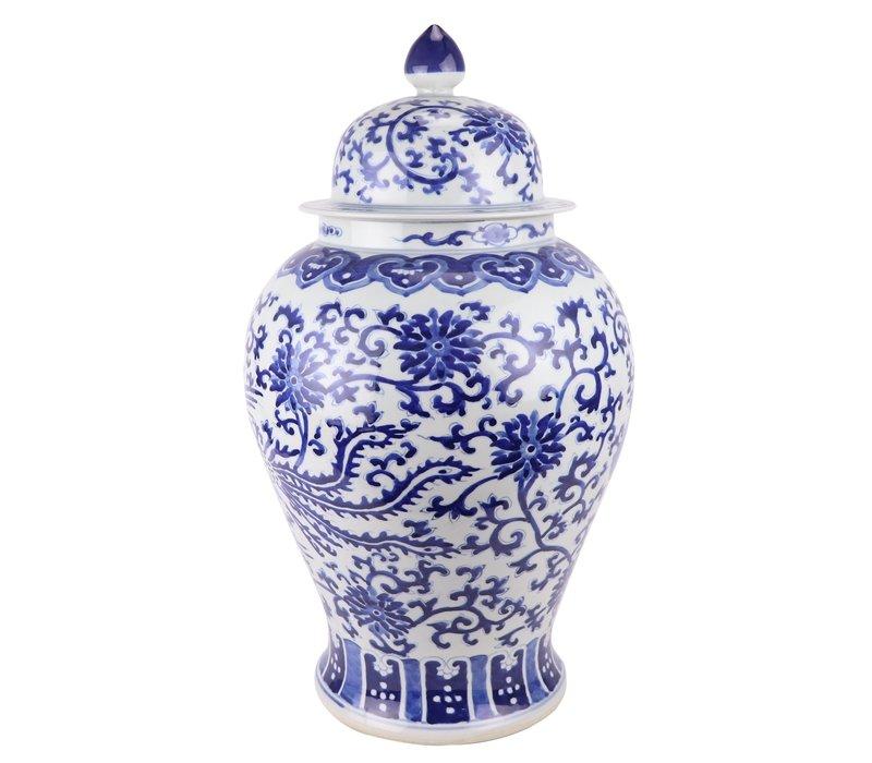 Chinese Gemberpot Porselein Handgeschilderd Phoenix Blauw Wit D32xH60cm