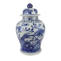 Chinesisches Deckelvase Porzellan handbemalt Vögel Blau Weiß D23xH39cm