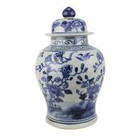 Chinese Gemberpot Porselein Handgeschilderd Vogels Blauw Wit D23xH39cm