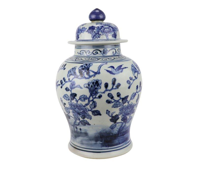 Tarro de Jengibre Chino Templo Porcelana Aves Azul Blanca D23xAlto39cm
