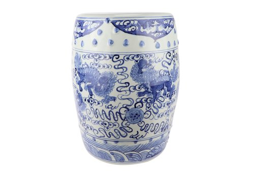 Fine Asianliving Ceramic Garden Stool Blue Handpainted Chinese Qilin D33xH44cm