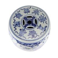 Ceramic Garden Stool Blue Handpainted Chinese Qilin D33xH44cm