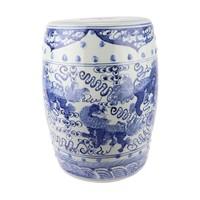 Keramiek Tuinkruk Blauw Handgeschilderd Chinese Qilin D33xH44cm