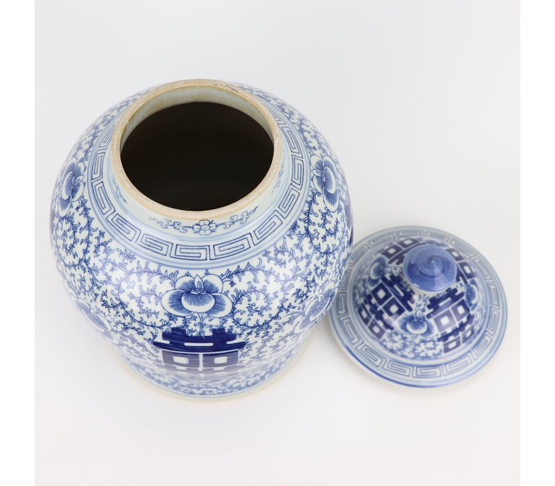 Chinese Gemberpot Blauw Wit Double Happiness D18xH24cm