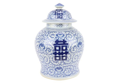 Fine Asianliving Chinese Gemberpot Blauw Wit Double Happiness D18xH24cm