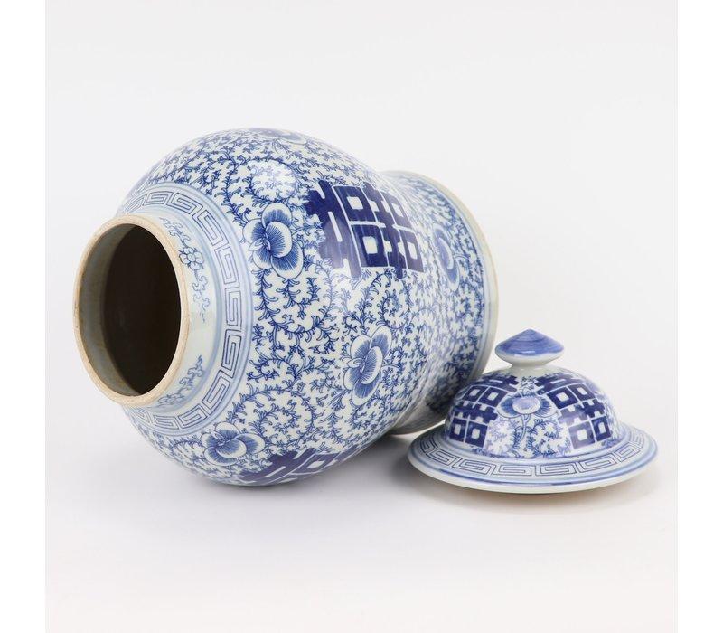 Tarro de Jengibre Chino Templo Porcelana Doble Felicidad Azul Blanca D18xAlto24cm