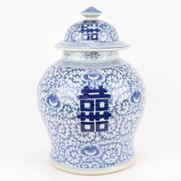 Chinese Ginger Jar Blue White Double Happiness D23xH32cm