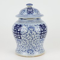 Chinese Ginger Jar Blue White Double Happiness D27xH37cm
